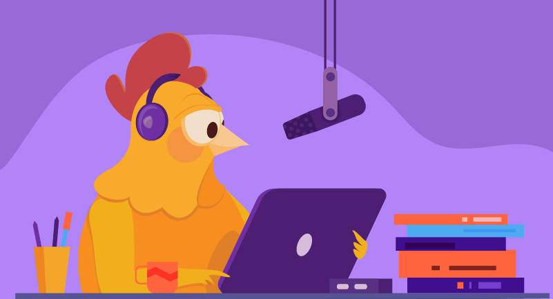 chicken recording a podcast