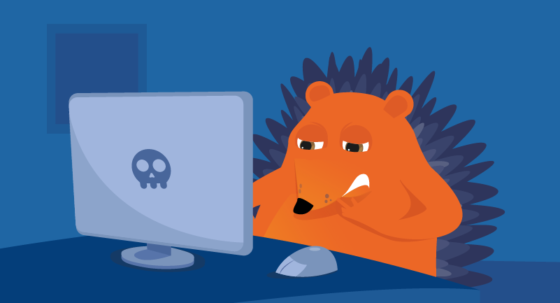 Hedgehog frustrated by malware