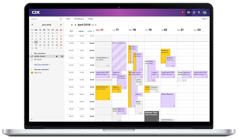 screenshot of calendar in Private Email