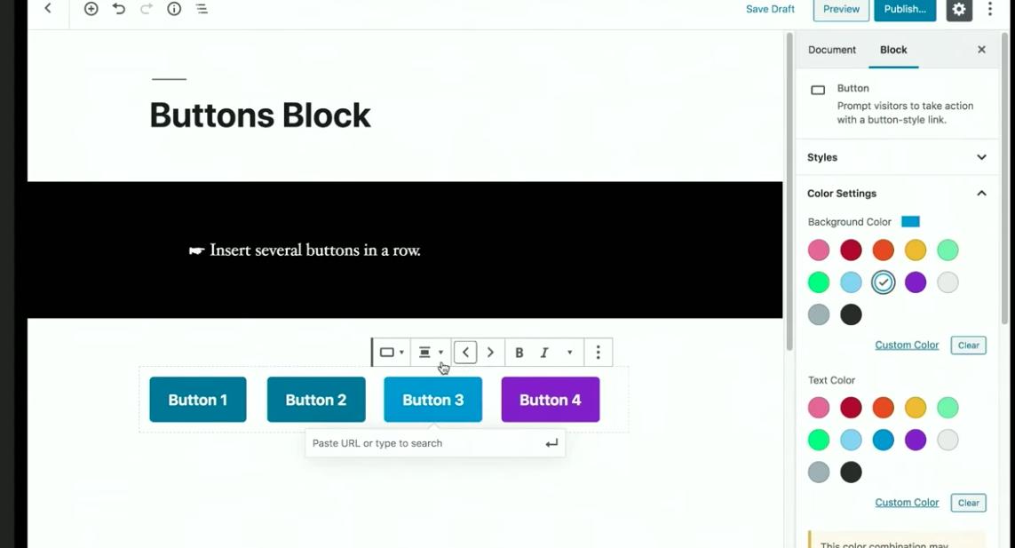 Screenshot of button block