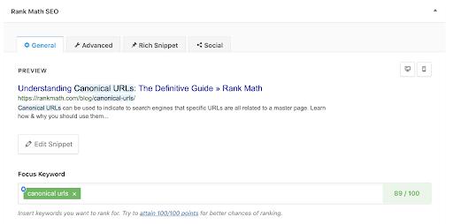 Rank Math keyword display