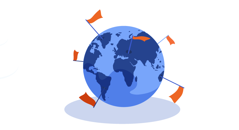 Globe with flags indicating WordPress users around the world