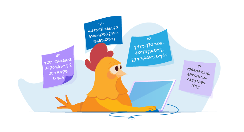 Chicken looking up IP addresses