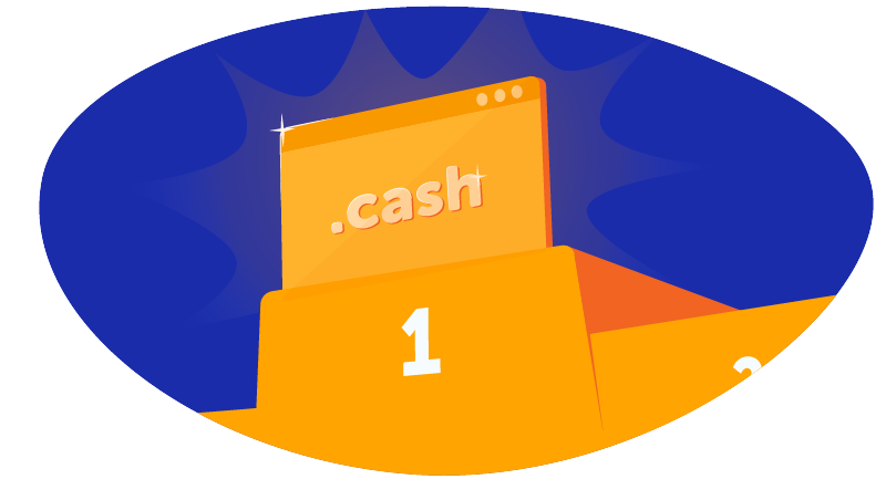 graphic with .cash top level domain
