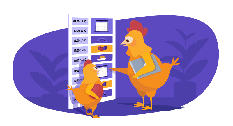 Chicken and kid setting a schedule