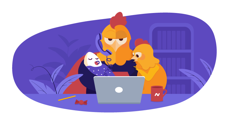Chicken working with kids at laptop