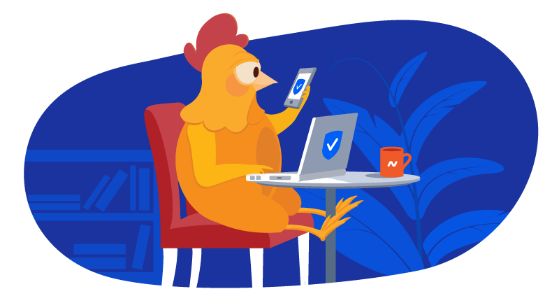 chicken at laptop changing her passwords