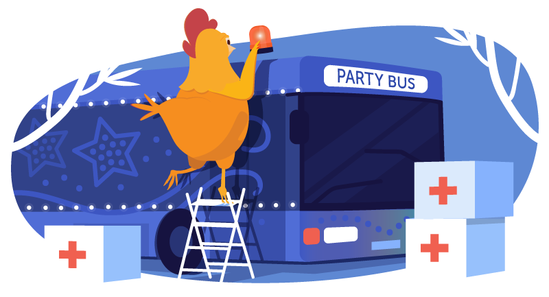 chicken converting party bus to helping deliver supplies