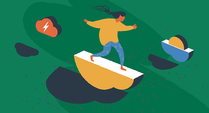 woman surfing on a cloud