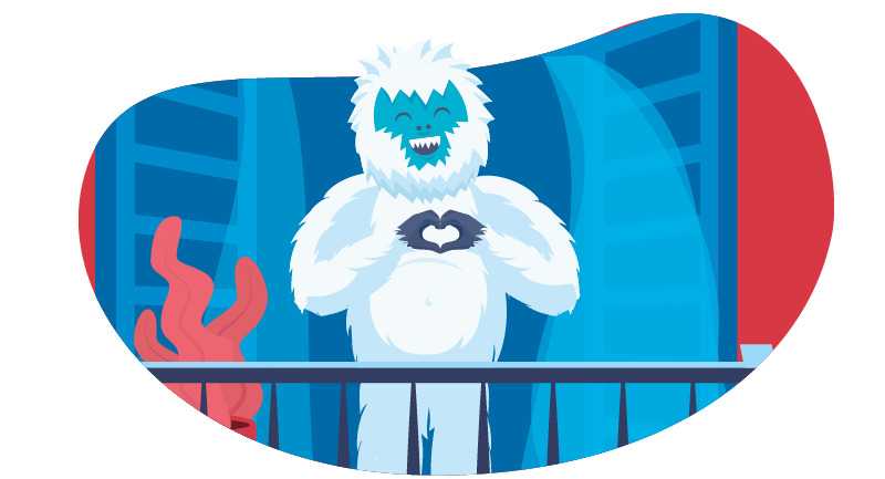 Yeti making a heart with his hands