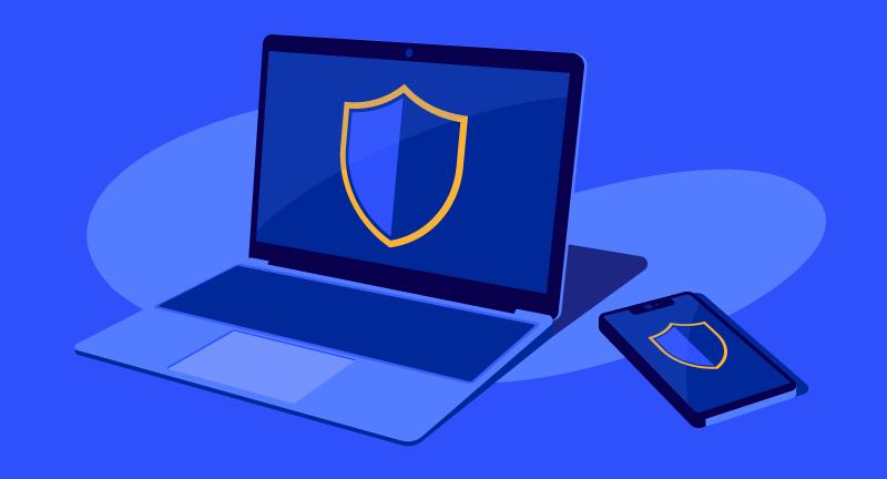 illustration of VPN on laptop